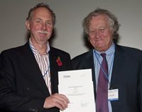 Dr Steve Sweetman receives the Marsh Palaeontology Award from Brian Marsh, OBE, Chairman of the Mars
