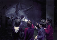 Children on a torch-lit tour of the Dinosaur gallery at night