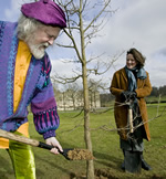 Lord Bath and Tania Kovats plant one of the 200 oak saplings at Longleat Estate