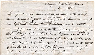 Alfred Russel Wallace letter written while he was in Borneo in 1855.