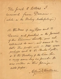 Wallace's note about the loss of his original manuscript of the paper about 'survival of the fittest