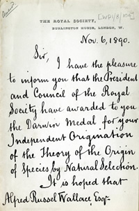 Royal Society letter to Alfred Russel Wallace awarding him their prestigious Darwin Medal