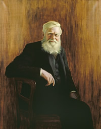 Portrait of Alfred Russel Wallace - on display in the Museum's Central Hall on Friday