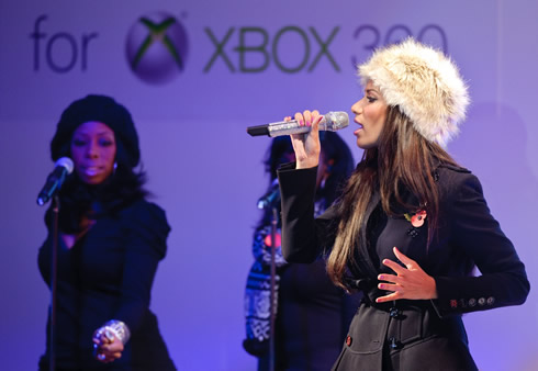 Leona Lewis performs at the Natural History Museum Ice Rink for launch of new Kinect for Xbox 360