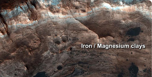 Iron and magnesium-rich clay minerals from the Mawrth Vallis valley on Mars.
