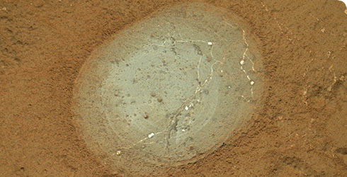 Martian clay uncovered by the Curiosity rover.