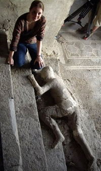 Examining human remains in Pompeii