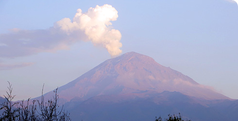 Popocatépetl, an active volcano in Mexico.