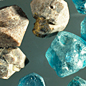 Brown and blue zircons.
