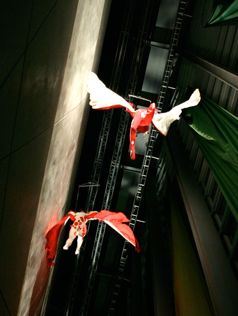 An aerial performer sails through the soaring Darwin Centre atrium at a special product launch event