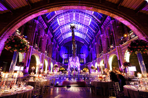 The dramatic Hintze Hall ready for a dinner