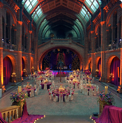 Hintze Hall dressed up for a magical wedding reception