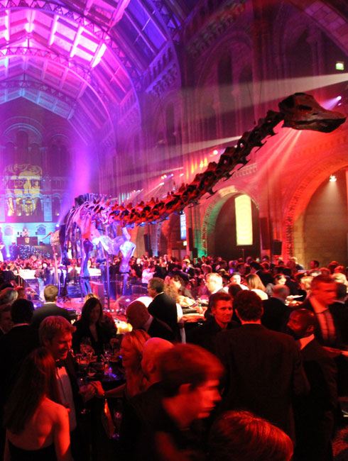 How many London venues offer the chance to party under a dinosaur?