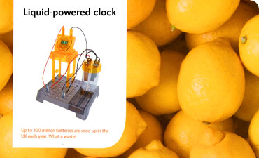 Liquid-powered clock from Wow! Stuff