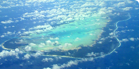 Aldabra atoll from the west
