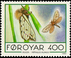 A stamp from the Faroe Islands featuring Hepialus humuli