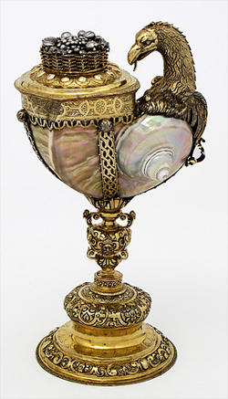 Silver-gilt turban shell cup