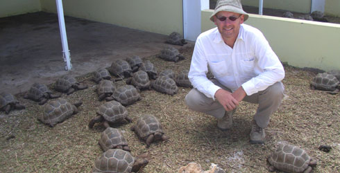 Julian Hume and baby tortoises at the Francois Leguat Tortoises and Caves Reserve