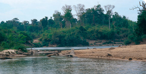The confluence of the Nam Leuk and Nam Gnong streams in Laos