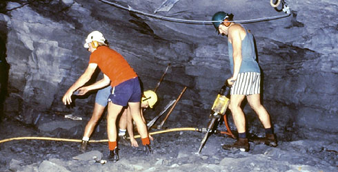 Scientists drilling for bones in a cave in Victoria