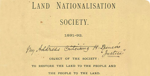 Report of the Land Nationalisation Society containing Wallace's Presidential address, dated July 1892, catalogue number WP5/1/2.