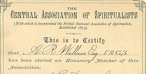 Certificate of Honorary Membership of the Central Association of Spiritualists awarded to Wallace in 1882, catalogue number WP2/4/1.