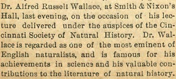 Response to Wallace's lecture on colours of animals  (extract)