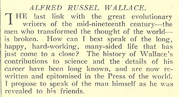 Wallace's obituary in the journal Nature (extract)
