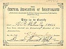 Wallace's spiritualist certificate
