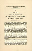 Wallace's 'Sarawak law' paper
