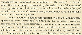 Note on sexual selection (extract)