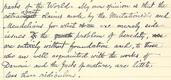Science in 1907 manuscript (extract)