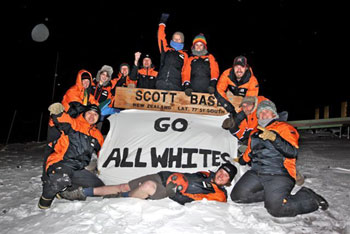 Scott Base shows its support for the All Whites' 2010 FIFA World Cup campaign © Steve Williams