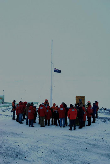 Gathered at the flag pole © S Sun / ANTNZ