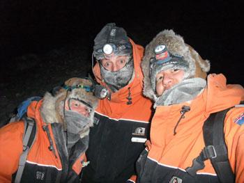 Frozen aurora hunters © Antarctic Heritage Trust