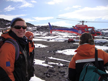 Waiting for the helicopter at Cape Royds © Antarctic Heritage Trust / G Whiteley