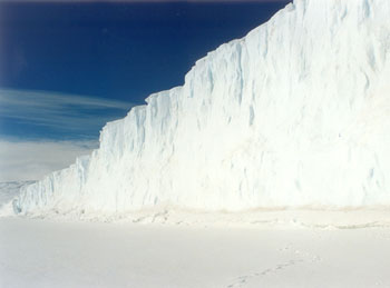 The Barne Glacier, named after Michael Barne, is a predominant feature in the landscape near Cape Evans © Antarctic Heritage Trust