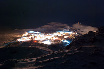 Bright lights of McMurdo from Observation Hill © Antarctic Heritage Trust