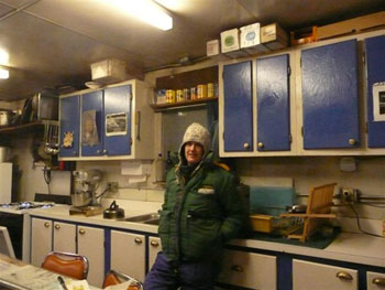 Lizzie in Black Island station kitchen © Lizzie Meek