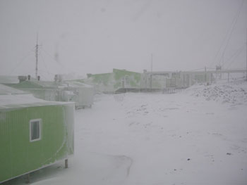 View of Scott Base during a storm © AHT / N Dunn