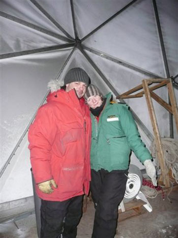 Carla and Austin inside the satellite dome © Antarctic Heritage  Trust