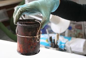 Corroded tin