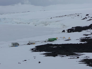 Our work and home camp set up at Cape Evans © Antarctic Heritage Trust
