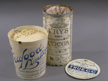 Tins of powdered egg and Frys cocoa powder during conservation in our lab © AHT / N Dunn