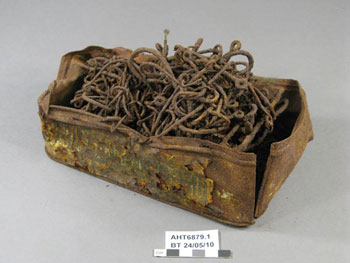 Tin of fish hooks before treatment © AHT / M Bell