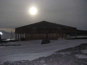 Discovery Hut by moonlight at 10:30am © Antarctic Heritage Trust