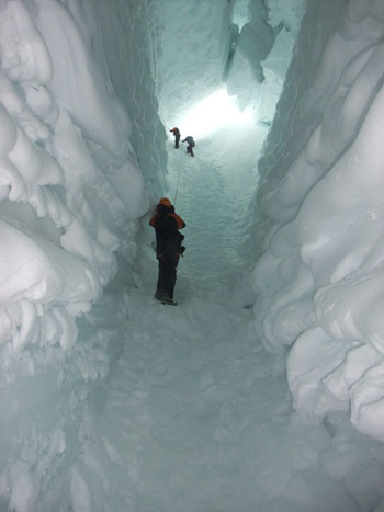 Climbing out of the crevasse © AHT, J Hamill