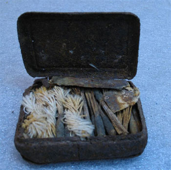 Iron-alloy match box with textile match sticks © Antarctic Heritage  Trust