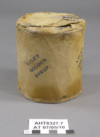 Tin of Lyle's Golden Syrup with wrapper after treatment © AHT / G Whiteley
