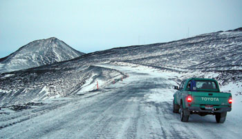 On the road to McMurdo with Observation Hill in the background © AHT, N Dunn